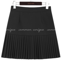 Pleat Accent A-Line Skirt