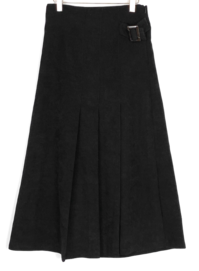 Half Pleated Buckle Point Skirt-3color
