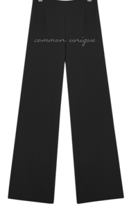 Semi-Elasticized Waist Wide Leg Slacks