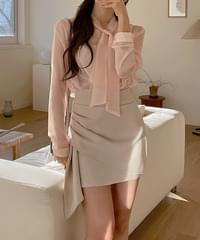 Lady Shirring Unfoot Skirt 2color