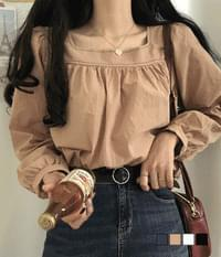 Stitched square-neck blouse