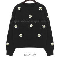 Embroidered Flower Accent Knit Top