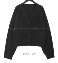 V-Neck Extended Sleeve Buttoned Cardigan