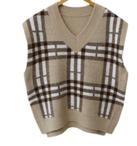 Checked color knit vest