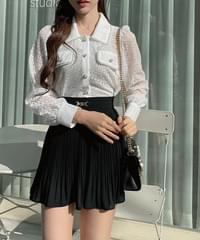 Rosy floral pearl lace blouse 2color