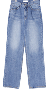 Moana straight wide long denim trousers