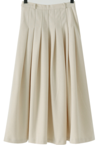 Pleated Fleece-lined long skirt