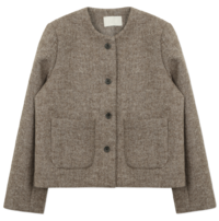 Herringbone no-collar wool jacket