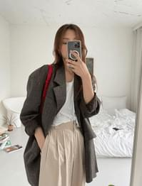 Seine hidden check overfit jacket