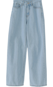 French Wide Denim Pants