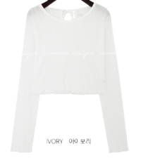 Ribbon Accent Cropped Knit T-Shirt