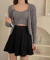 ABS Ribbed Sleeveless + Knitwear cardigan 4color