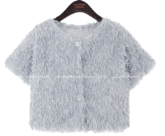 Cropped Feather Cardigan