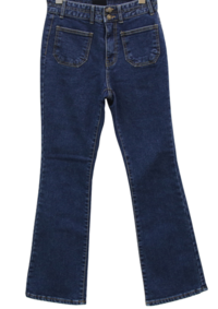 Two-pocket two-button Fleece-lined semi Flared jeans