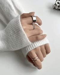 3-set silver layered ring ring