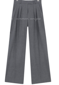 Double Pleat Wide-Leg Slacks