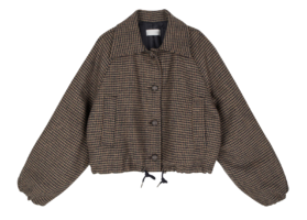 Hearts wool check cropped jacket
