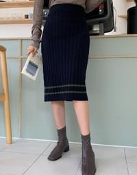 Wool classic Ribbed skirt