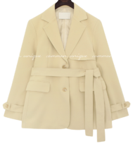 Solid Tone Notch Lapel Belted Jacket