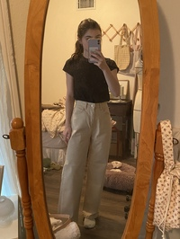 Semi-Elasticized Waist Straight Pants
