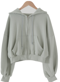 All-day crop hood zip-up