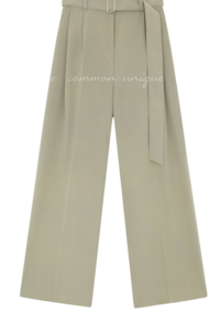 Pleat Accent Wide Leg Belted Slacks