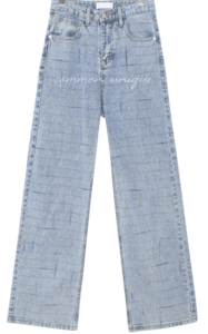 Check Pattern Straight Jeans