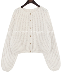 Balloon Sleeve Chunky Knit Cardigan