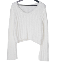 Billy V-Neck Angora Crop Knitwear