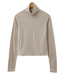 Slim Fleece-lined Turtleneck T-shirt