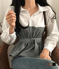 Kalia collar checked belted flared blouse