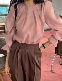 Lily see-through pintuck blouse