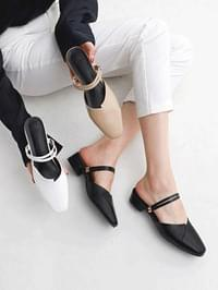 Isshu 2way wrap design low heel mules & slingback sandals 7054
