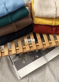 Youzbe V-Neck Ribbed Knitwear Cardigan