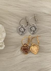 Rape heart ring earrings