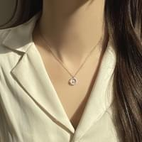 Surgical Half Cubic Circle Moon Silver Necklace