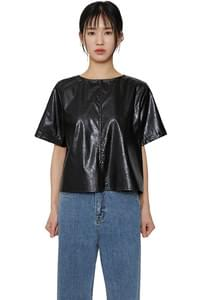Half leather button top