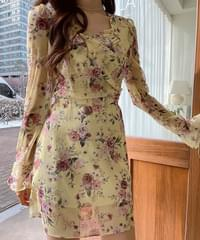 Romantic Shirring Flower Dress 2color