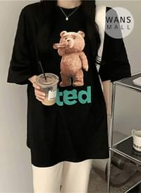 tt3619 teddy round neck short sleeve T-shirt