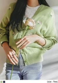 Embroidered Flower V-Neck Cardigan