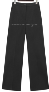 Solid Color Buttoned Waist Slacks