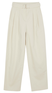 Label belted cotton trousers