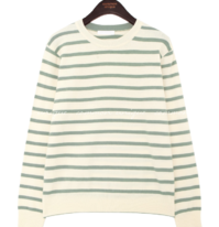 Round Neck Striped Knit Top