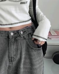Cropper Buckle Wide Long Faded Denim Pants