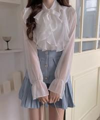 Ribe see-through chiffon frill blouse 3color