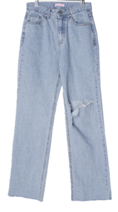 Grained destroyed long denim trousers