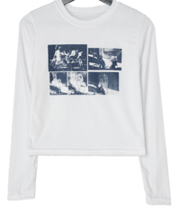 Moonberry printed cropped long-sleeved T-shirt
