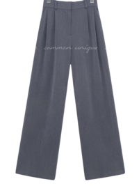 Semi-Elasticized Waist Pleat Accent Slacks