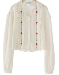 Garden lace embroidery blouse