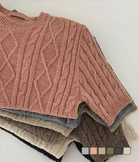 Antique Twisted Short Sleeve Round Neck Knitwear